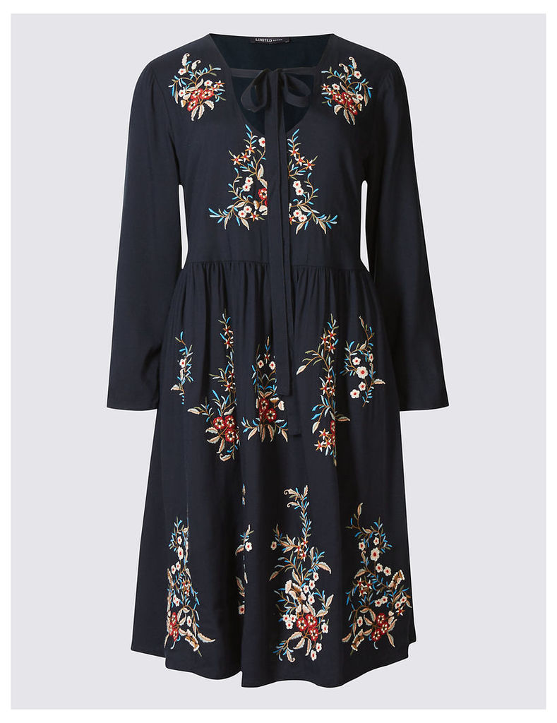 Limited Edition Embroidered Long Sleeve Skater Dress