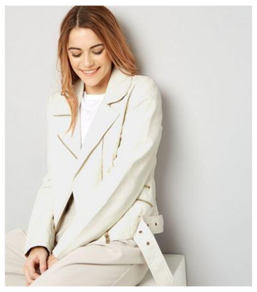 Cream Leather-Look Biker Jacket
