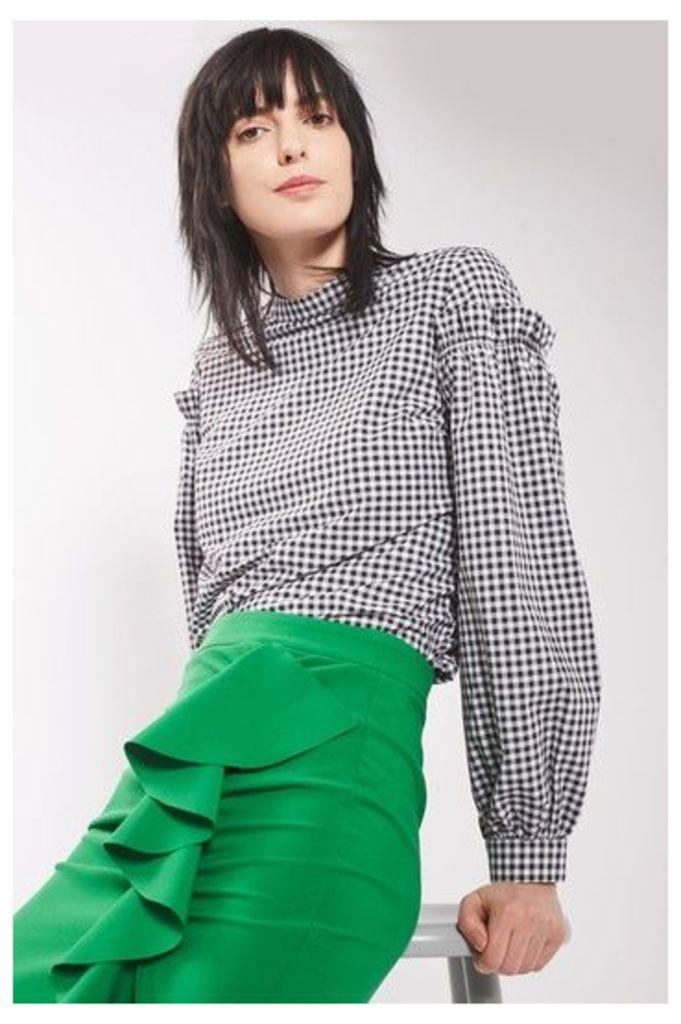 Womens Gingham Mutton Sleeve Blouse - Monochrome, Monochrome