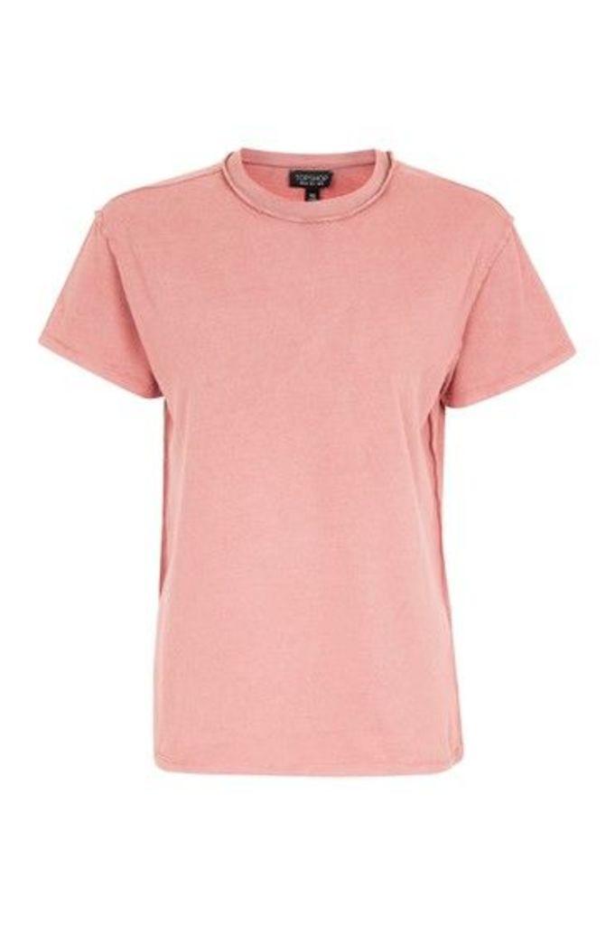 Womens Reverse Seam T-Shirt - Coral, Coral