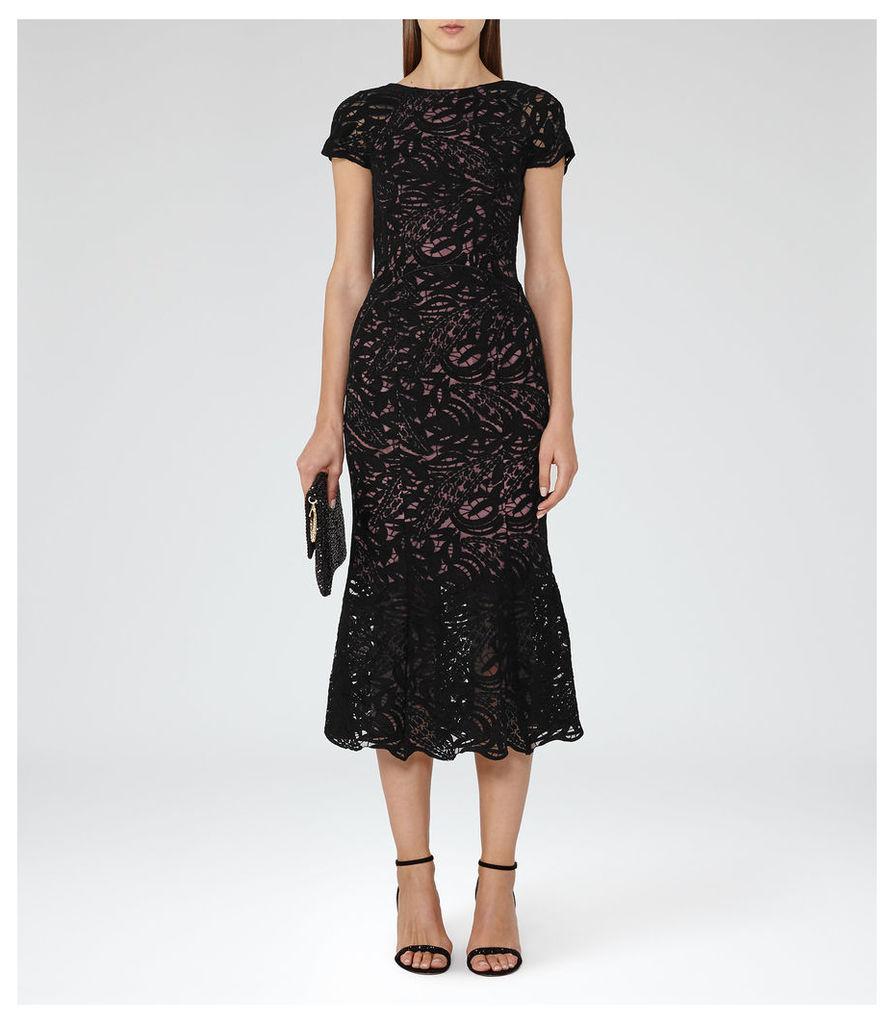 REISS Erin - Womens Lace Midi Dress in Black