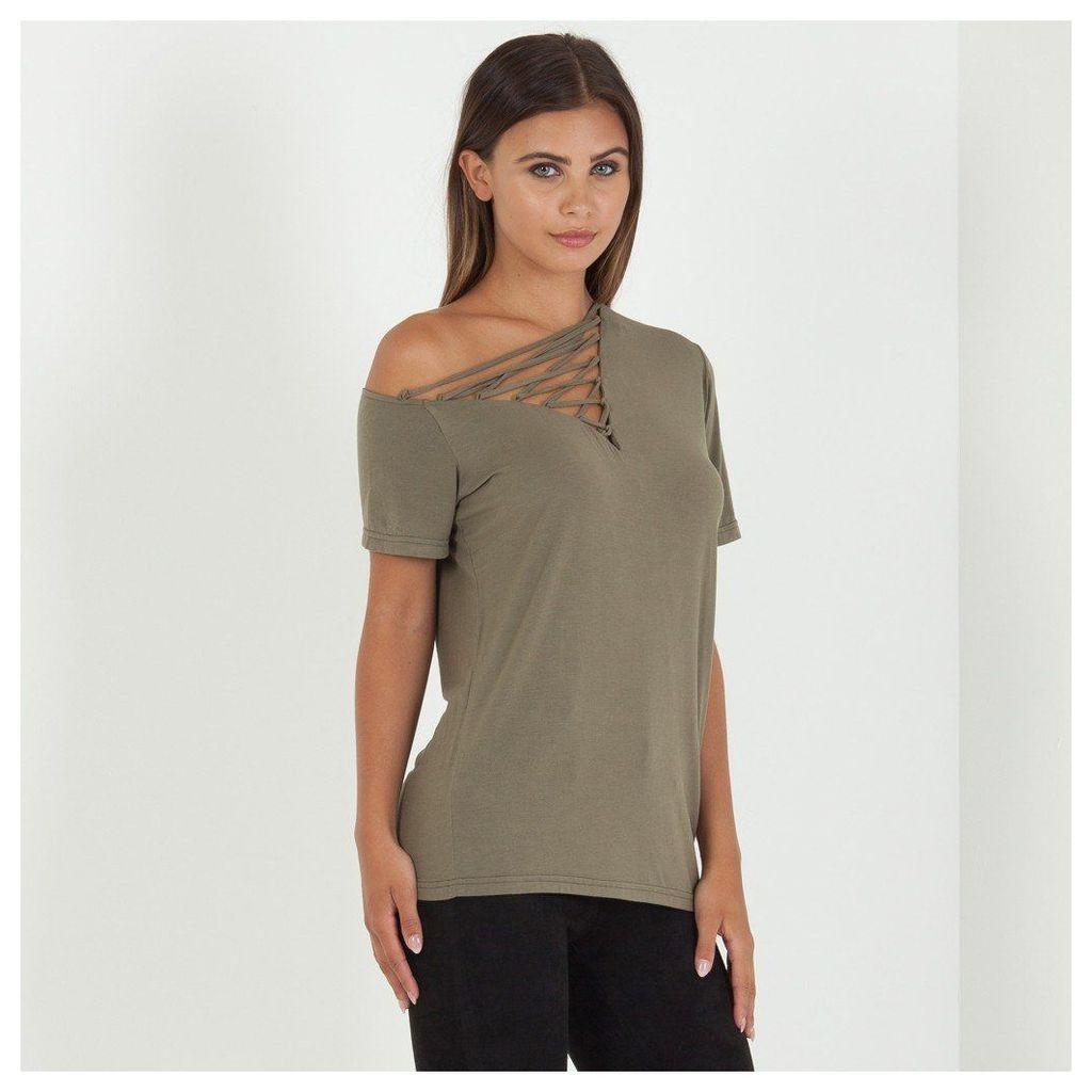 Maniere De Voir; Off Shoulder Lace-Up T-Shirt - Khaki