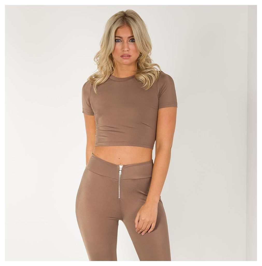 Maniere De Voir; Open Back Crop Top - Brown