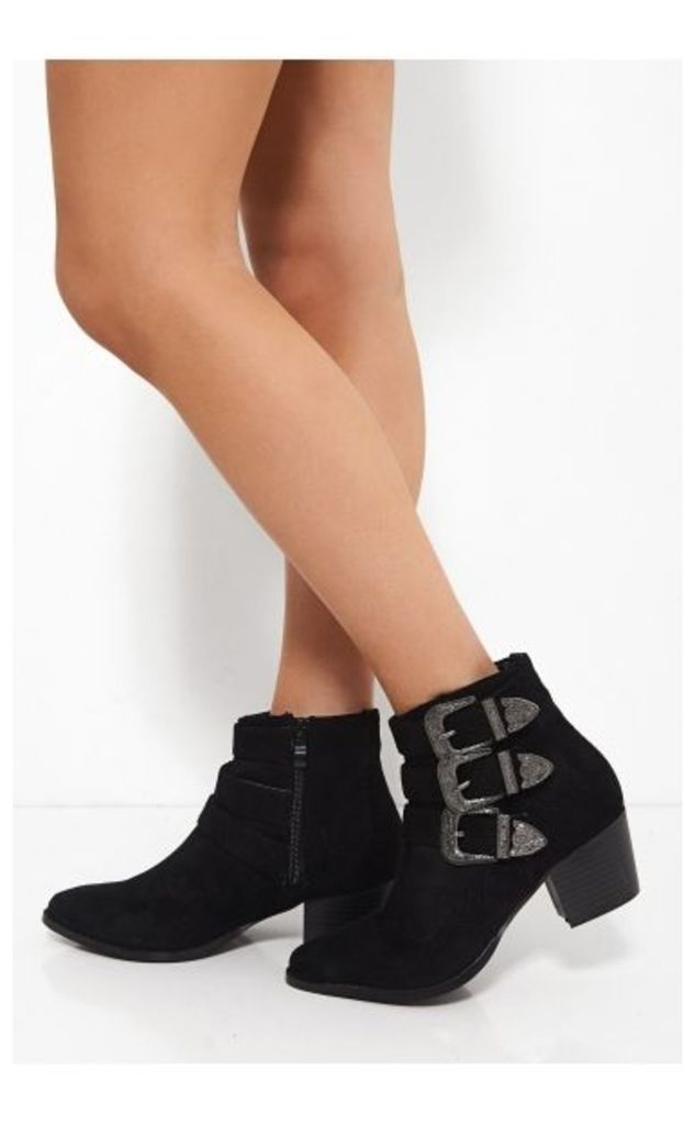 Montana Black Suede Buckle Ankle boots