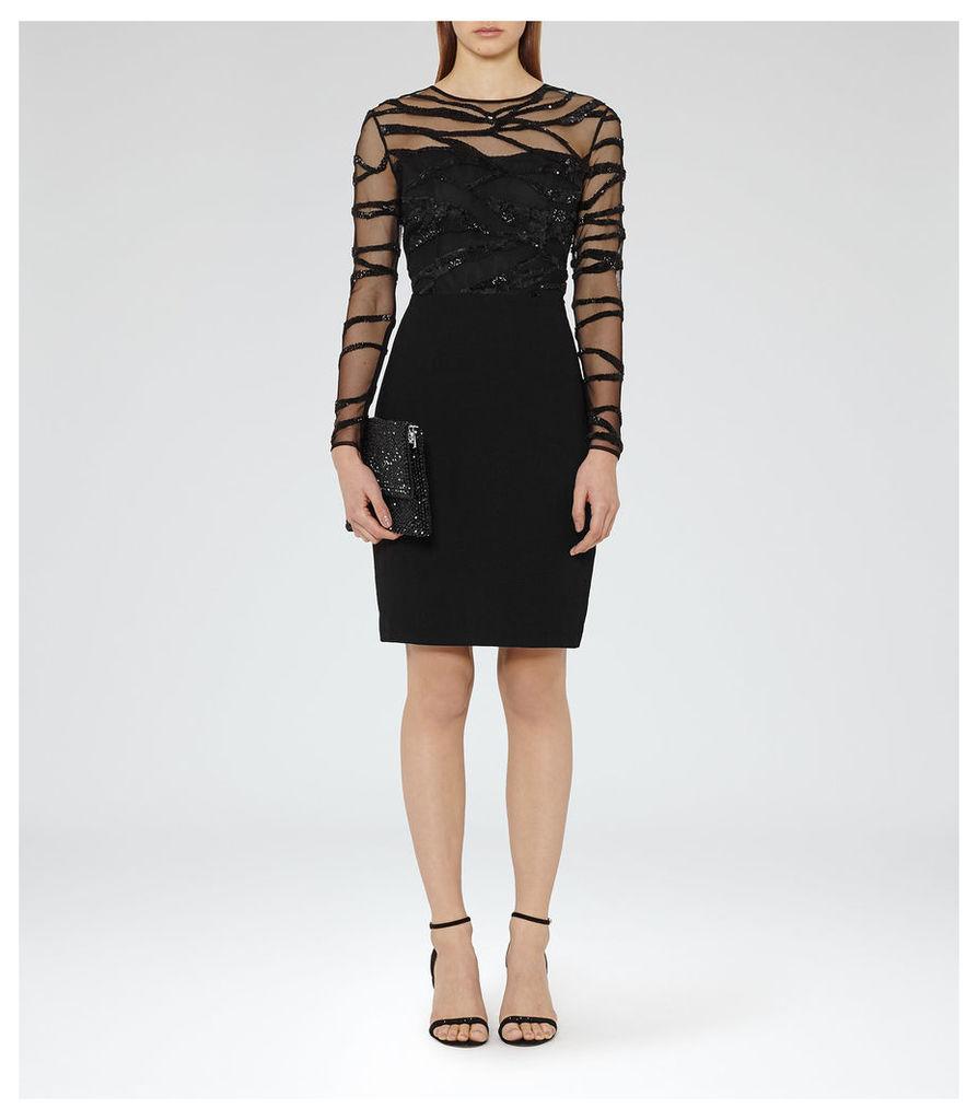 REISS Rosalin - Womens Embellished Bodycon Dress in Black
