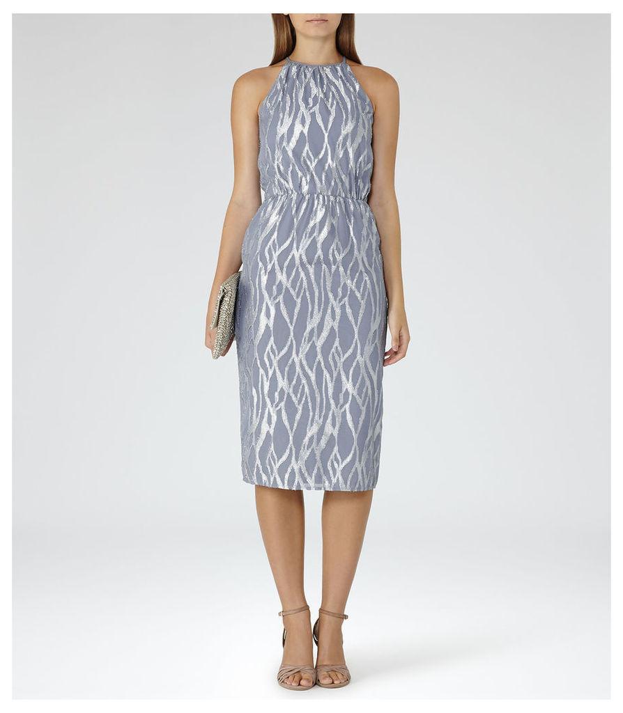 REISS Cass - Womens Metallic Burnout Dress in Grey
