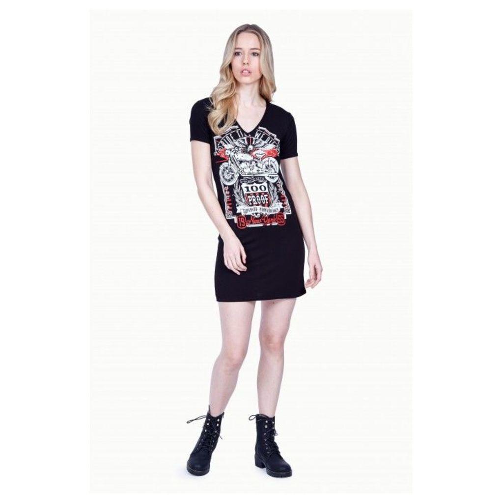 DISTRESSED BACK ROCK T-SHIRT DRESS