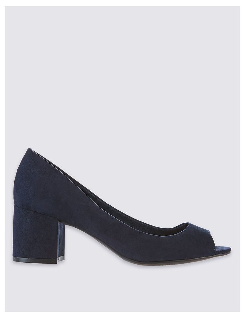 M&S Collection Block Peep Toe Court Shoes with Insolia