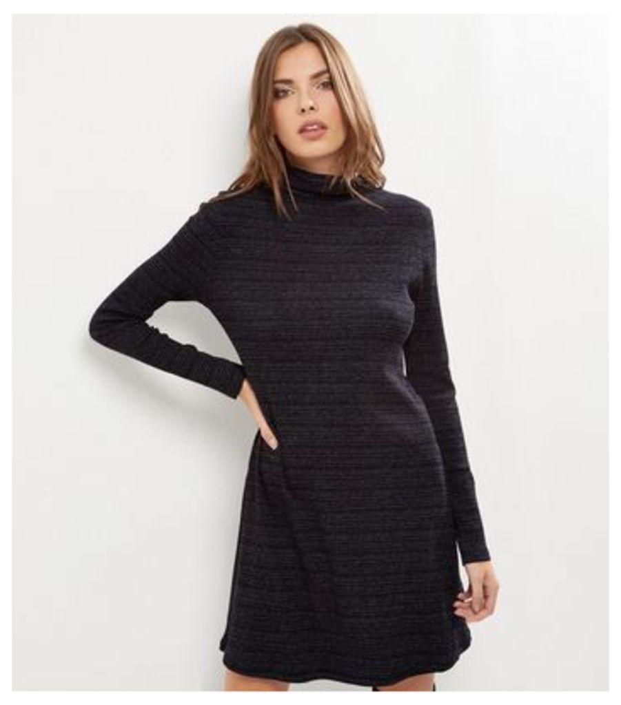 Black Textured Stripe Funnel Neck Long Sleeve Swing Dress