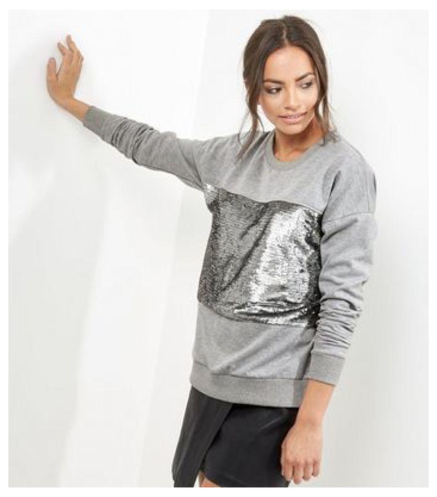 Grey Sequin Panel Long Sleeve Sweater