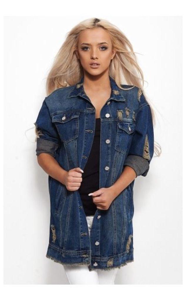 Hadid Oversized Distressed Denim Jacket