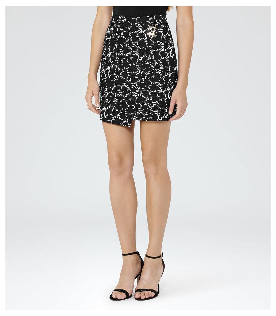 REISS Naomi - Womens Jacquard Wrap Skirt in Black