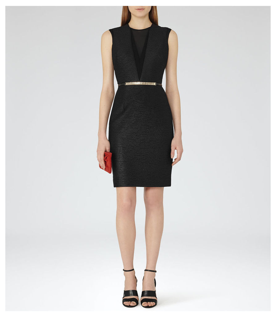 REISS Ally - Womens Textured Cocktail Dress in Black