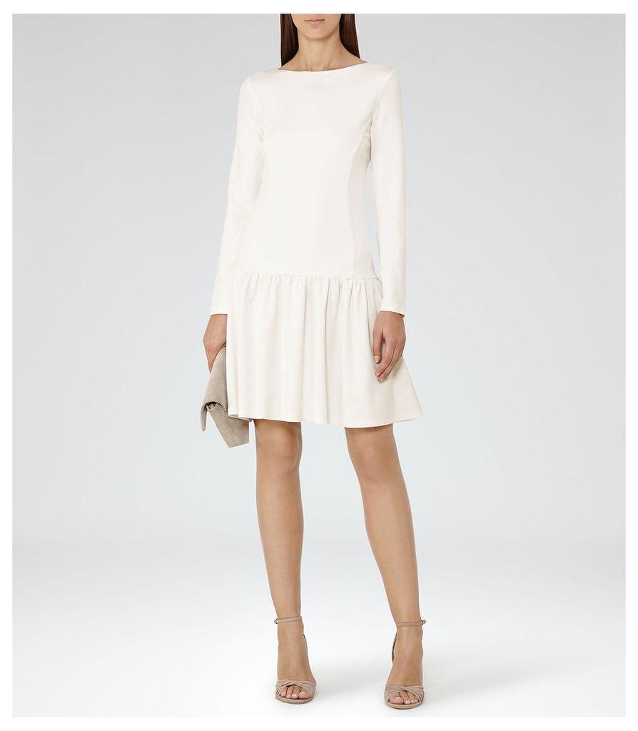 REISS Agnes - Womens Drop-waist Jersey Dress in White