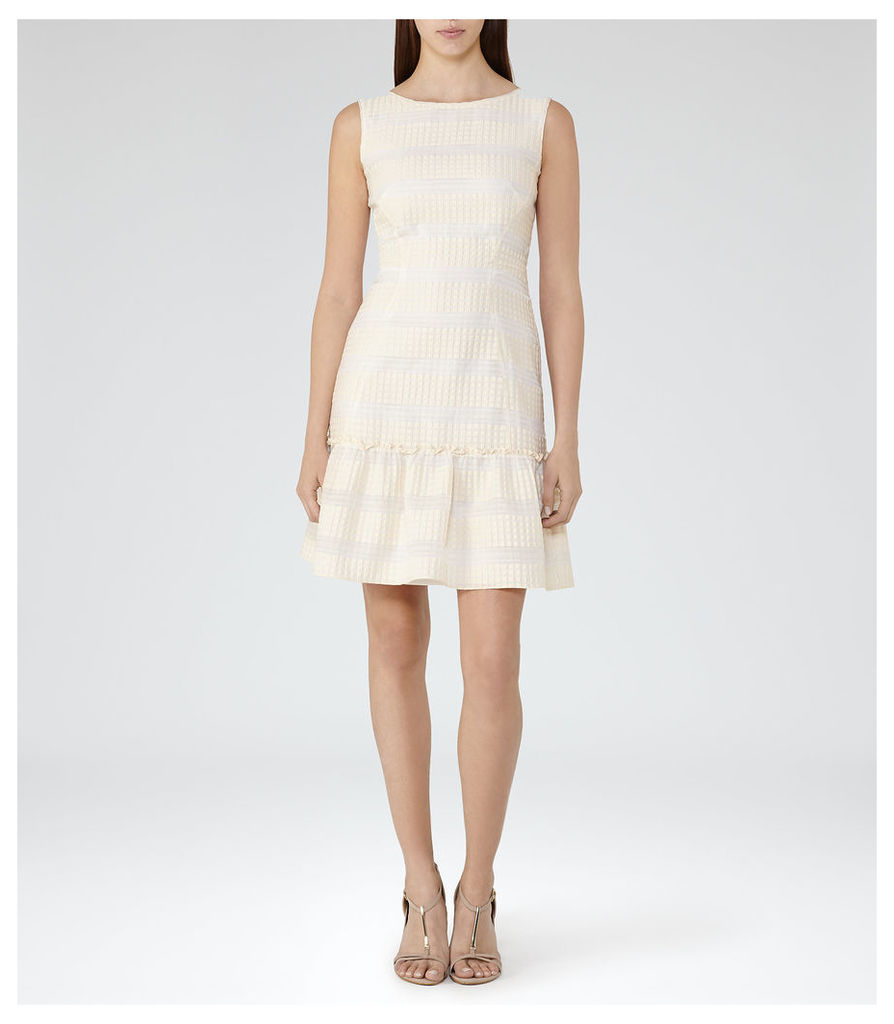 REISS Delia - Womens Ruffle-hem Dress in Brown