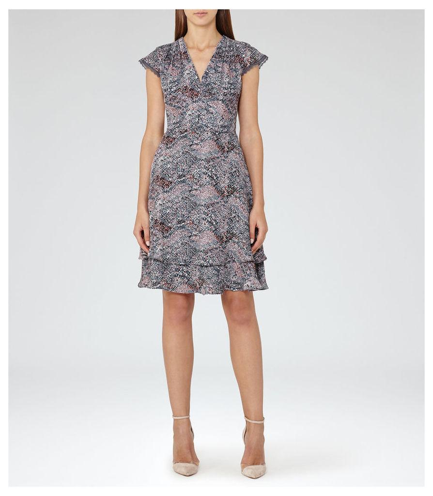 REISS Angelika - Womens Printed Day Dress in Grey