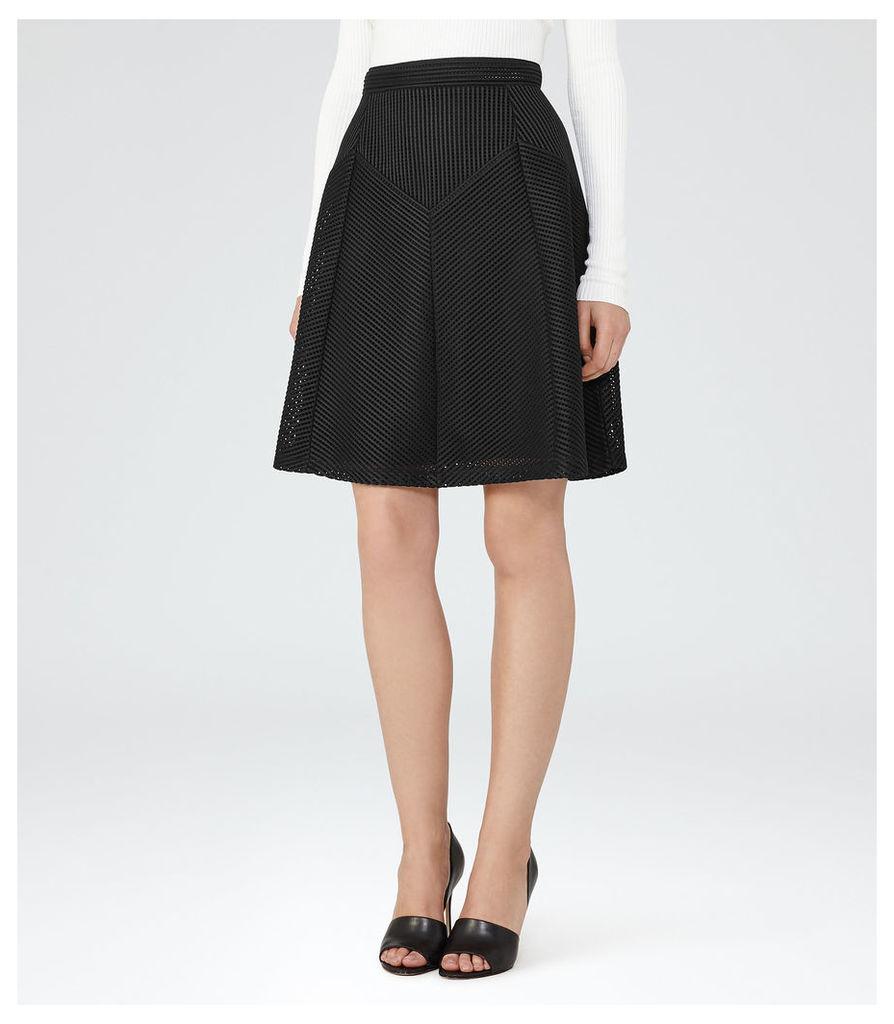 REISS Amythist - Womens Textured A-line Skirt in Black