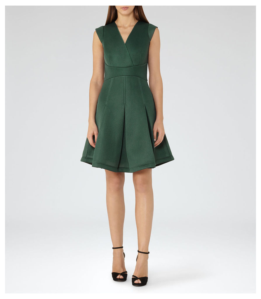 REISS Riviera - Womens Textured Scuba Fit And Flare Dress in Green