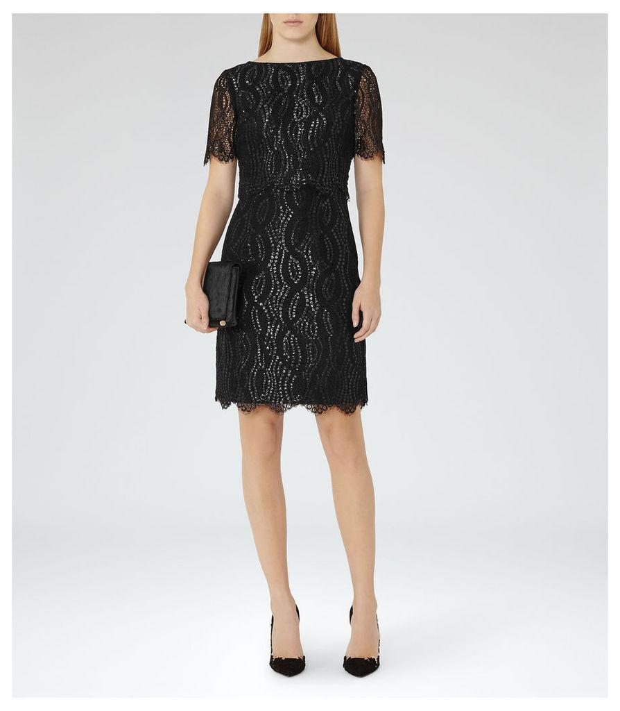 REISS Lanini - Womens Metallic Lace Dress in Black