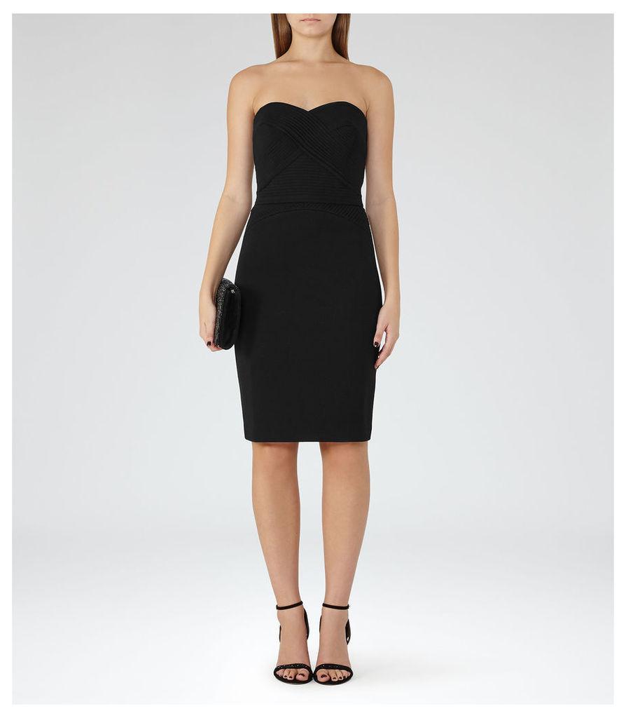 REISS Sabbia - Womens Strapless Plisse-detail Dress in Black