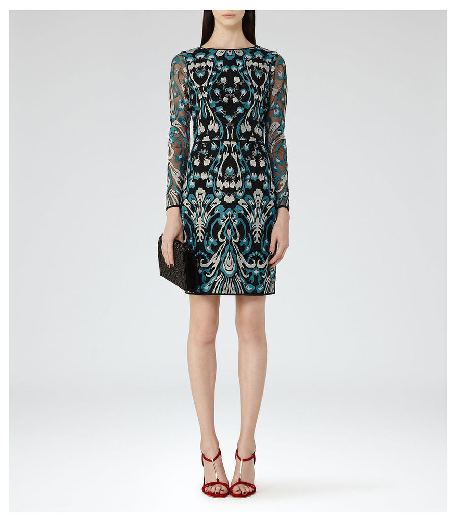 REISS Alianna - Womens Embroidered Dress in Green