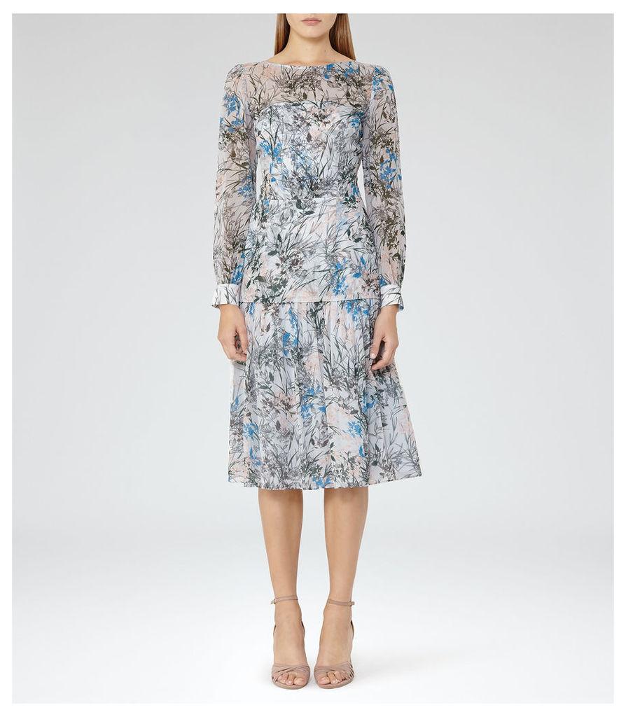 REISS Nyla - Womens Printed Midi Dress in Blue