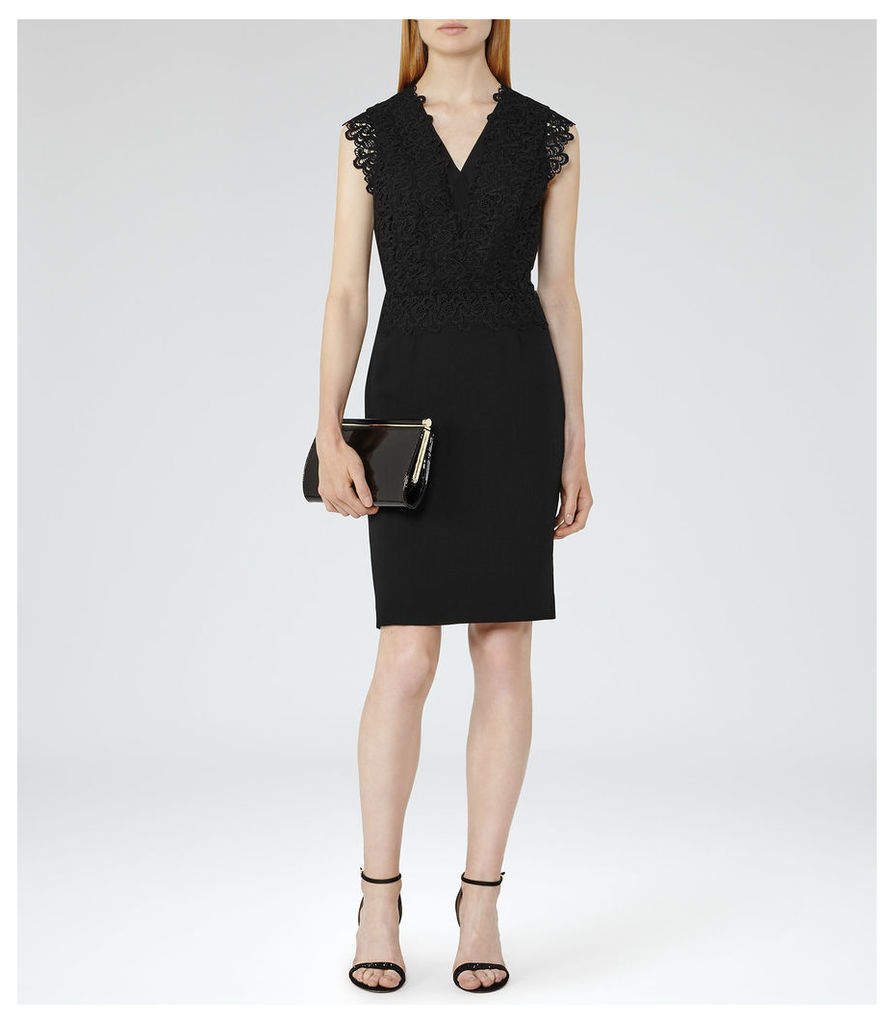 REISS Joelie - Womens Lace-top Dress in Black
