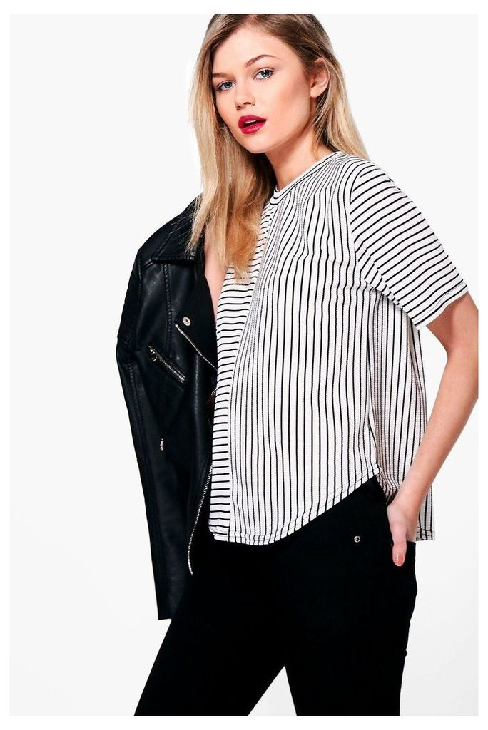Sarah Contrast Stripe Oversized Tee - white