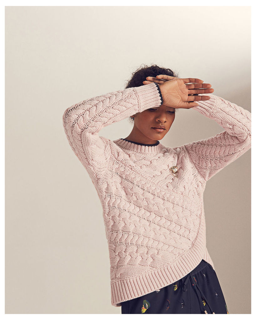 Ted Baker Asymmetric cable knit jumper Pale Pink
