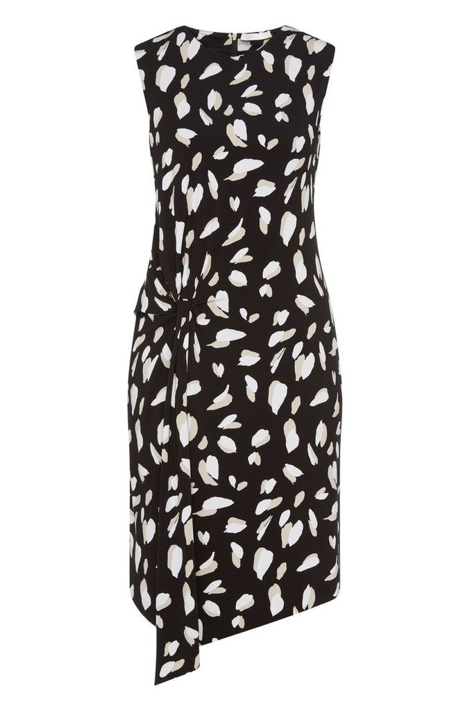 Patterned dress in stretch viscose with gathering: `Enavia`