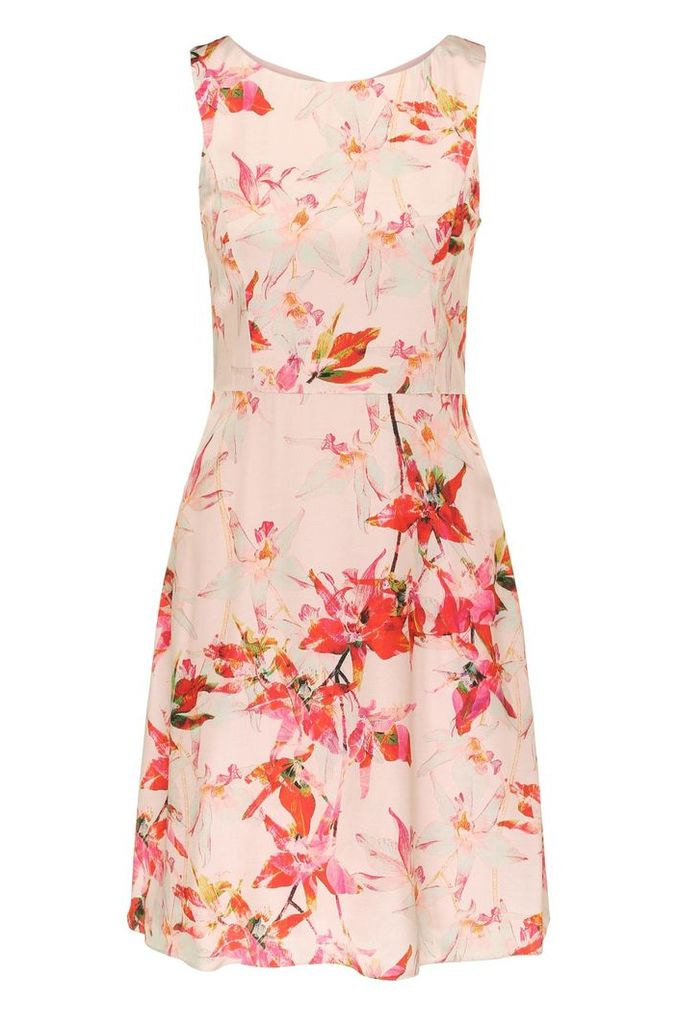 Regular-fit mini dress in viscose and silk with a floral print: `Afilly`