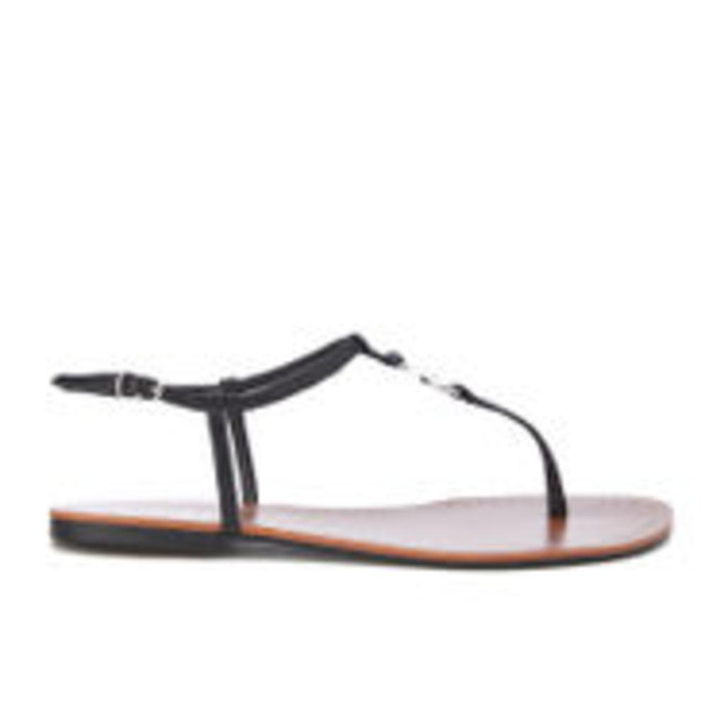 Lauren Ralph Lauren Women's Aimon T-Bar Croc Flat Sandals - Black - UK 7.5/US 9.5
