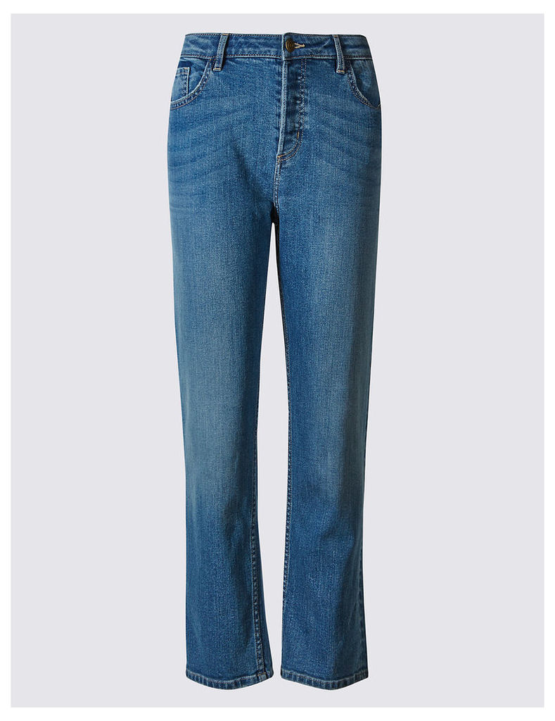 M&S Collection Button Fly Mid Rise Cropped Jeans