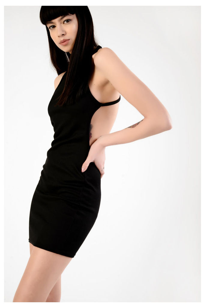 Black Ribbed Jersey Bodycon Dress