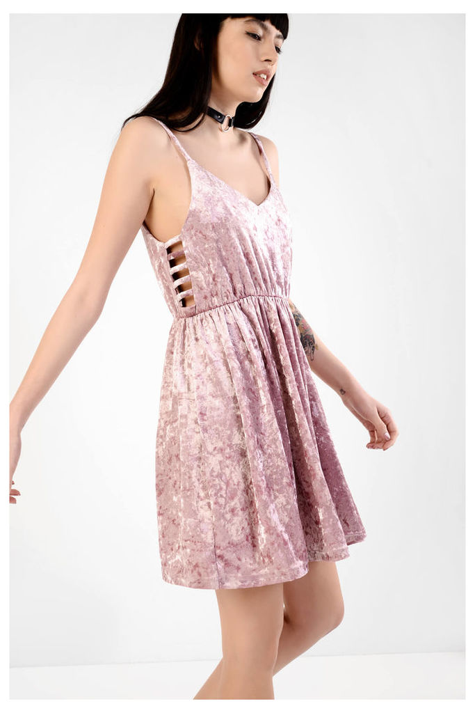 Pink Velvet Cami Dress With Cutout Detail