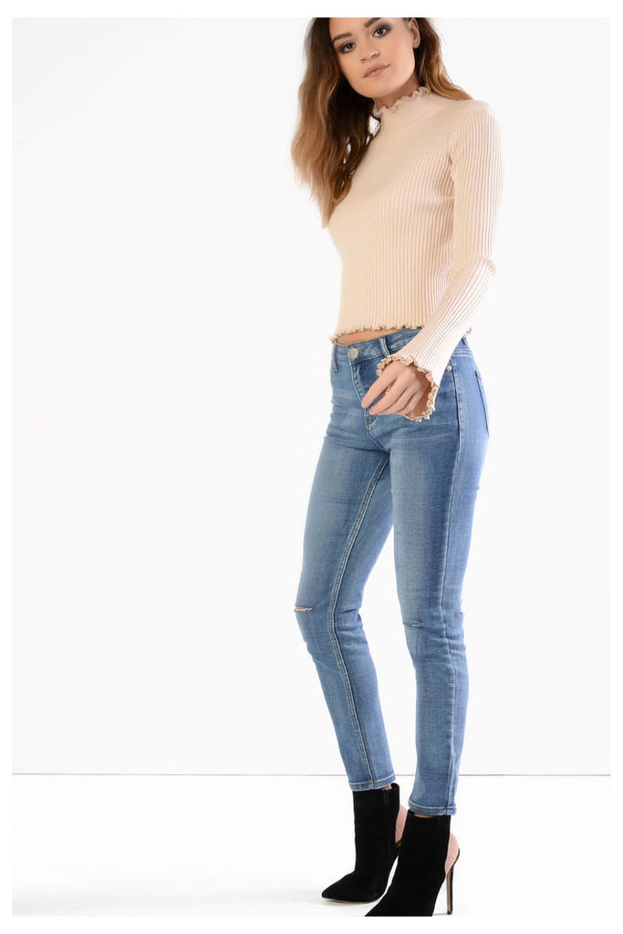 Stone Wash Ripped Knee Skinny Jeans