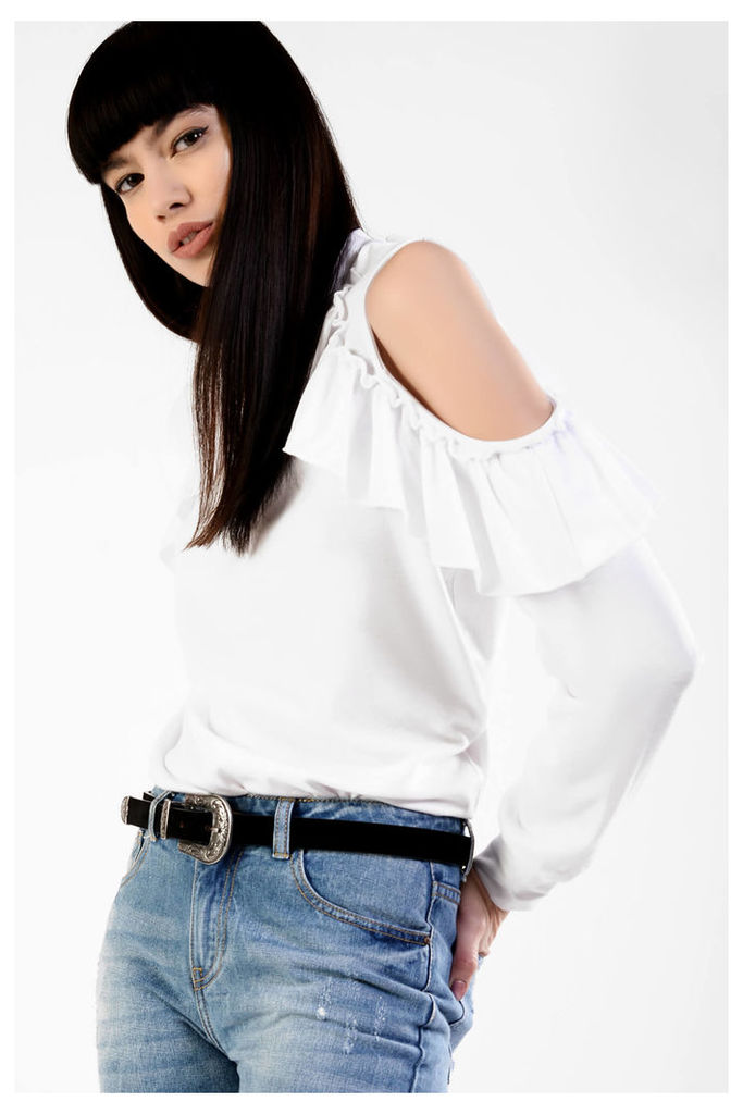 White Jersey Cold Shoulder Ruffle Top