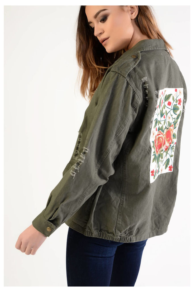 Khaki Utility Jacket With Floral Embroidered Back