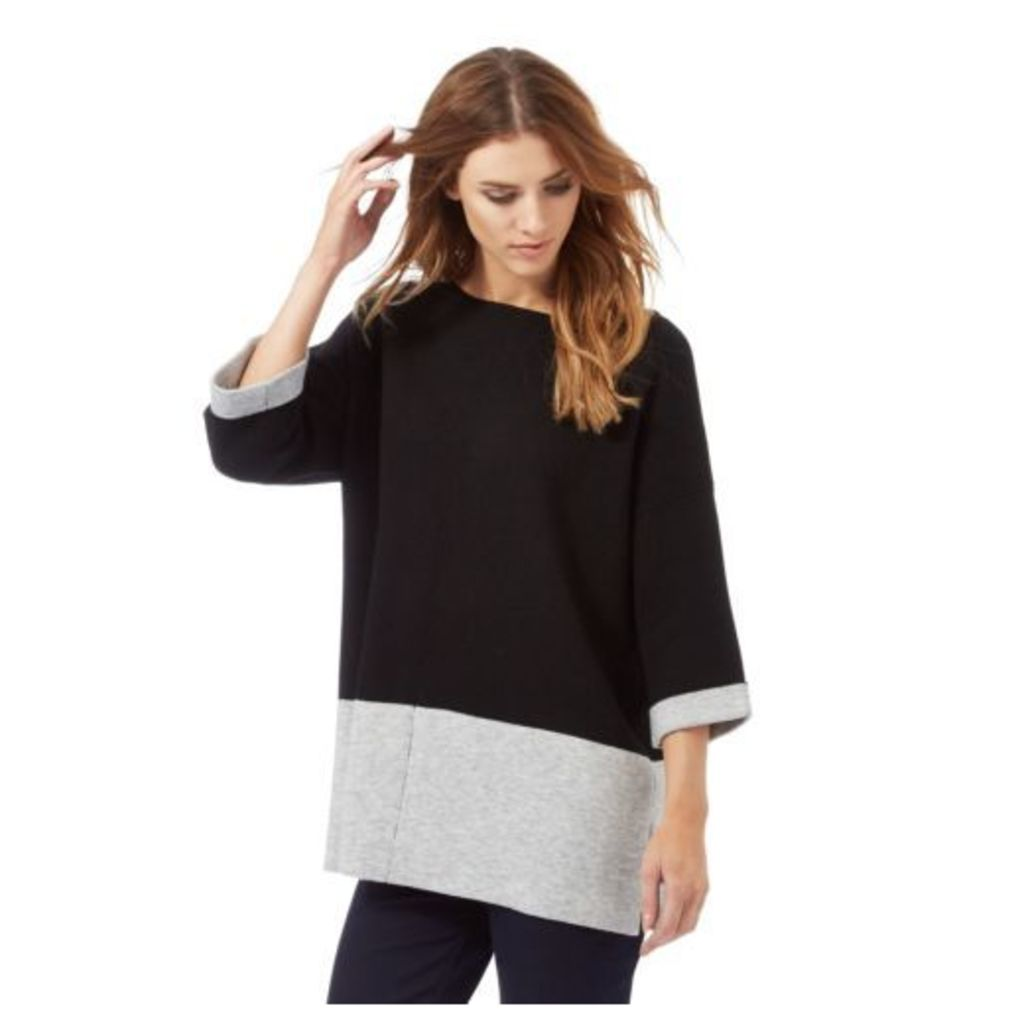 Nine By Savannah Miller Womens Black And Grey Colour Block Top From Debenhams M