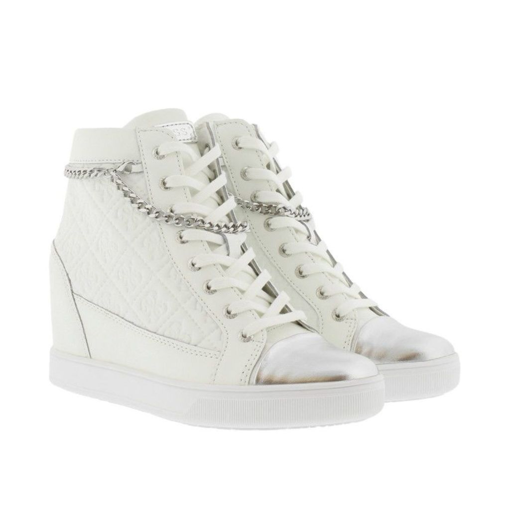 Guess Sneakers - Furia Wedge Sneaker Leather White - in white, silver - Sneakers for ladies