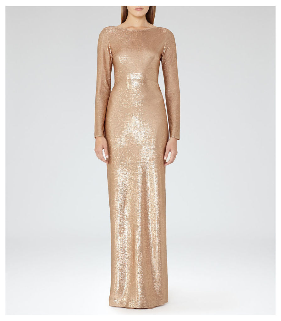 REISS Orion - Womens Metallic Maxi Dress in Red