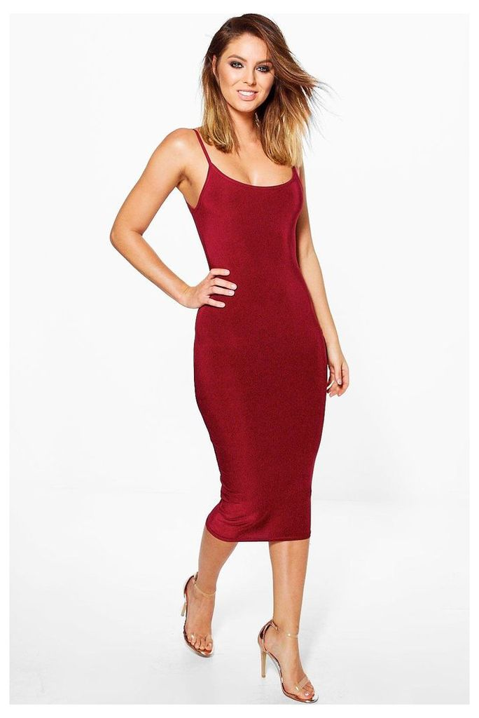 Slinky Strappy Bodycon Dress - berry