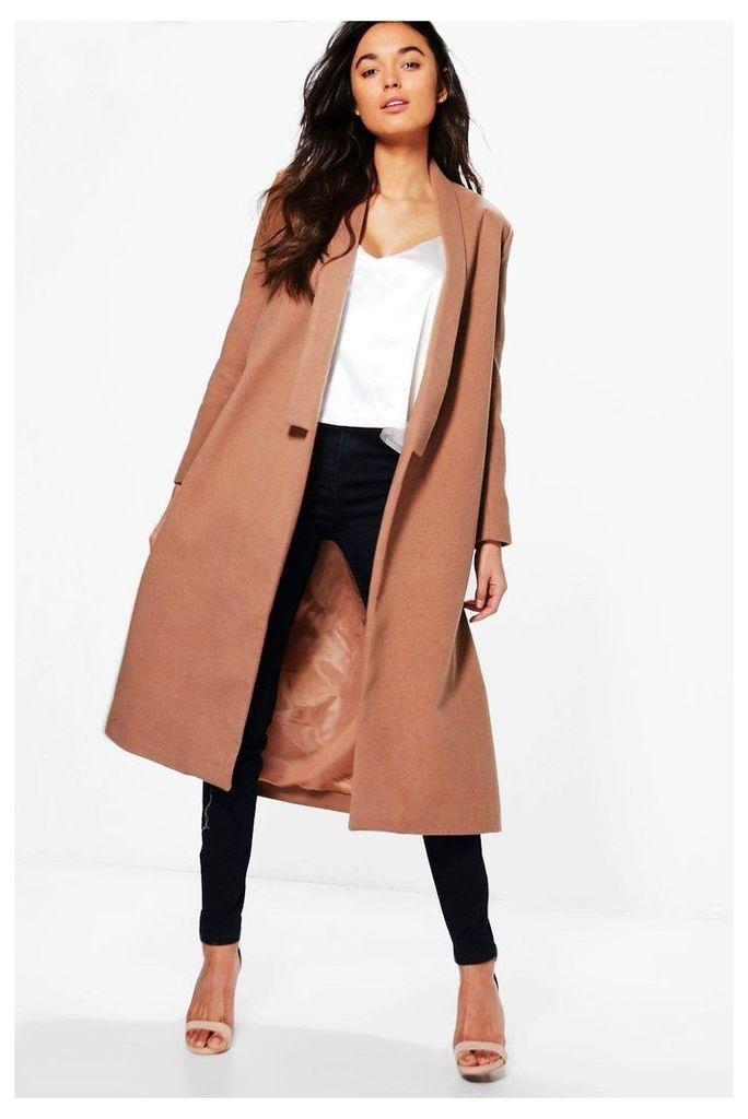 Shawl Collar Wool Coat - camel
