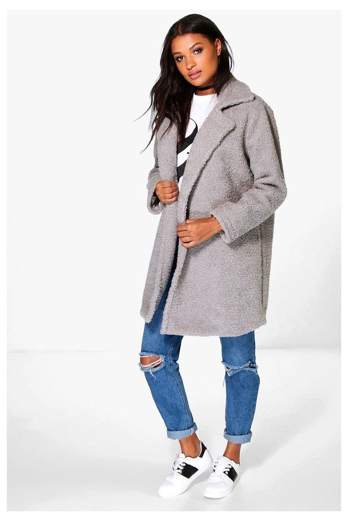 Louisa Teddy Faux Fur Chuck On Coat - grey