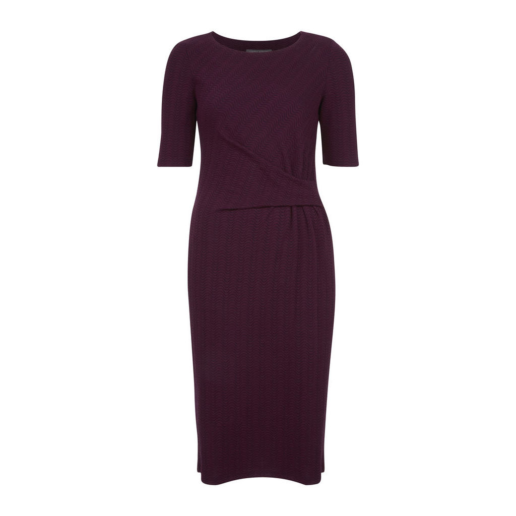 Twist Front Jacquard Jersey Dress