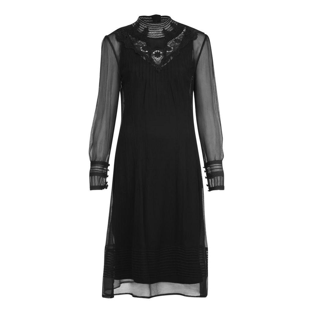 High Neck Lace Bib Silk Dress