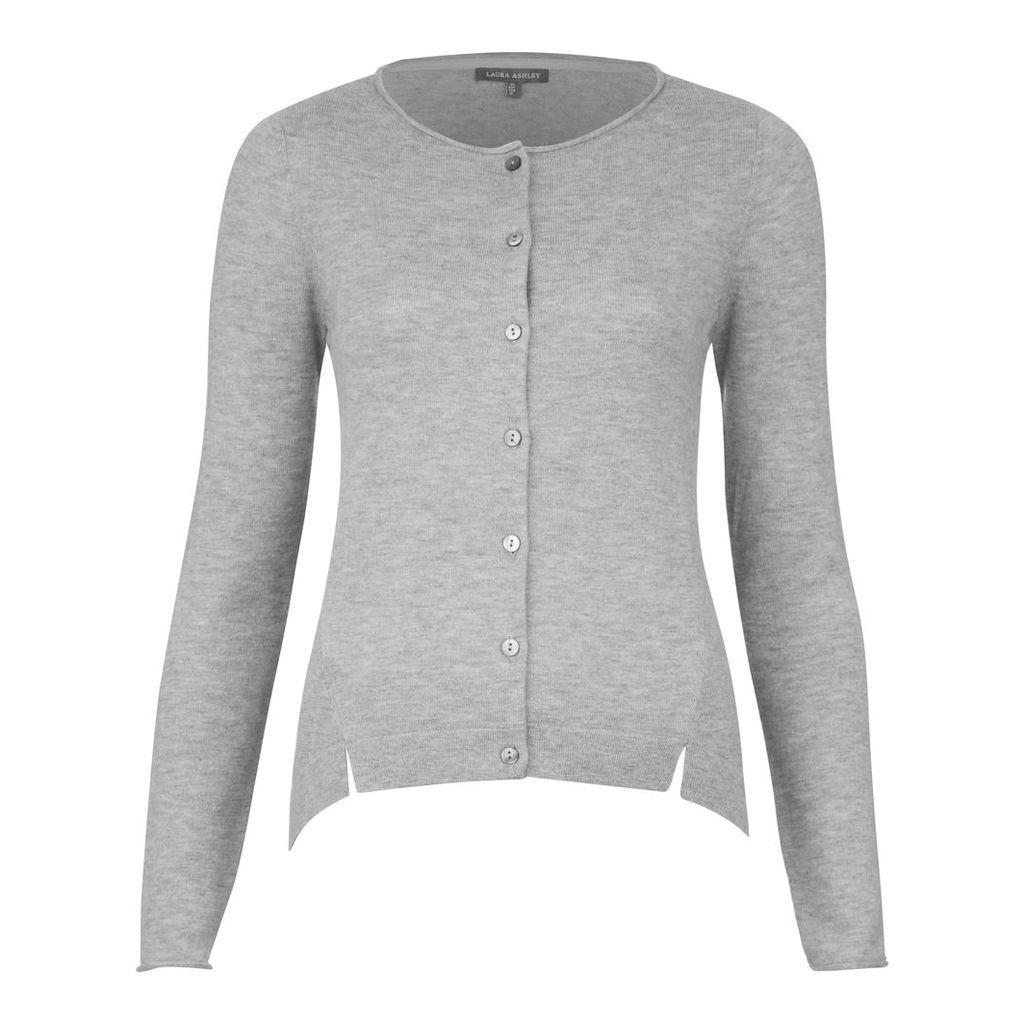 Dipped Hem Wool and Cashmere Cardigan