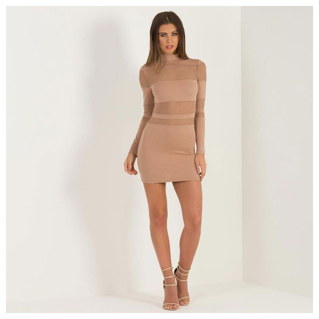 Maniere De Voir; Mesh Insert Bodycon Dress - Beige