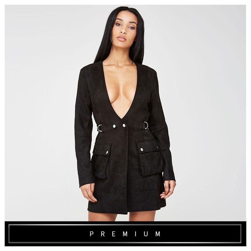 Maniere De Voir; Suede Utility Tuxedo Dress - Black