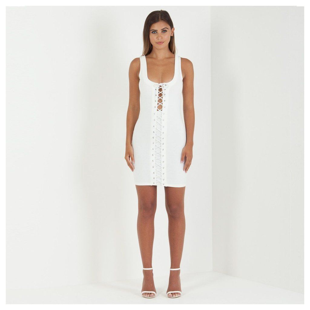 Maniere De Voir; Lace-Up Mini Dress - White